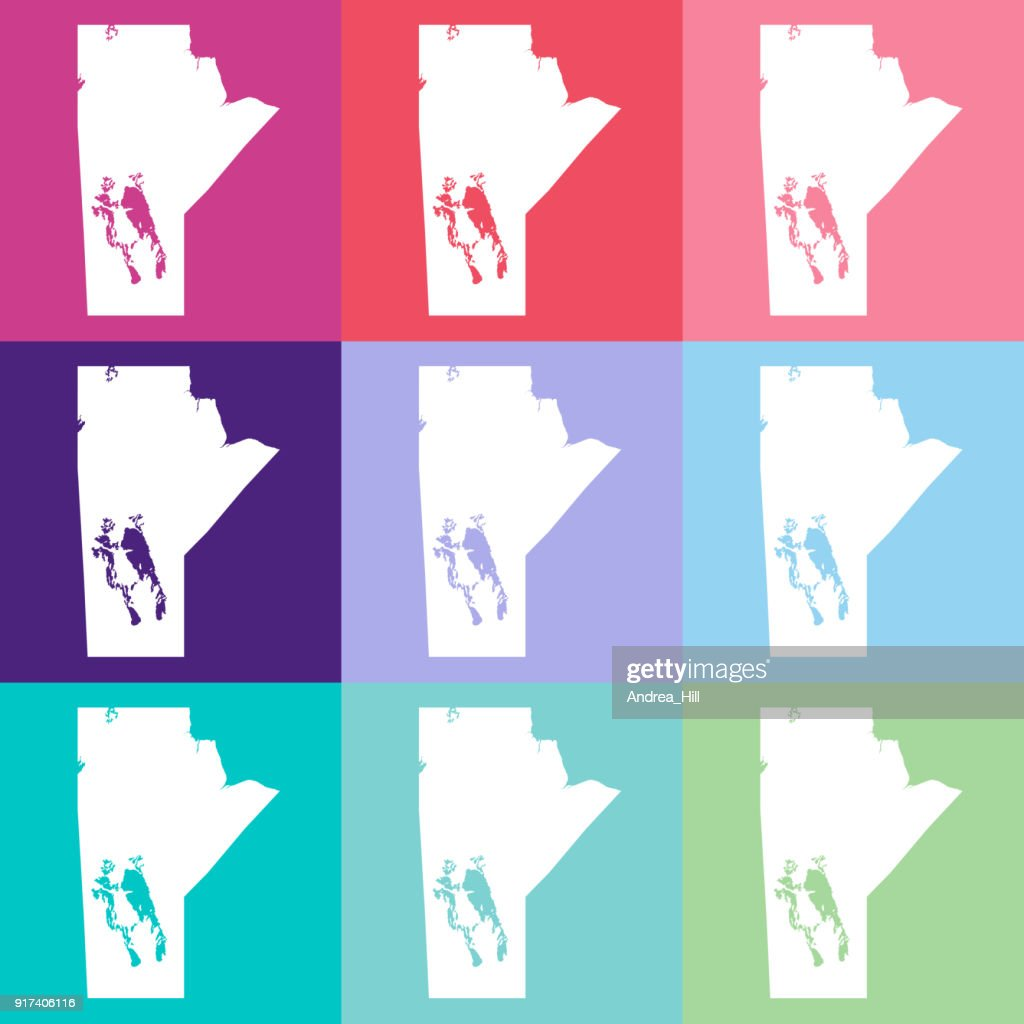 Vector Manitoba, Canada Map in Cool Colours