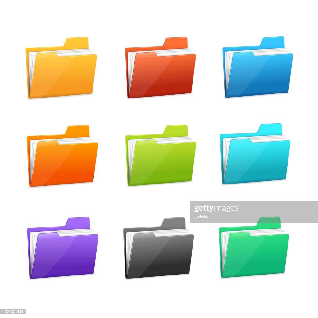 Vector many rainbow folders set on the white