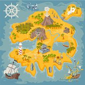 Vector map elements of fantasy pirate island in colorful illustration and hand draw of mystery realm