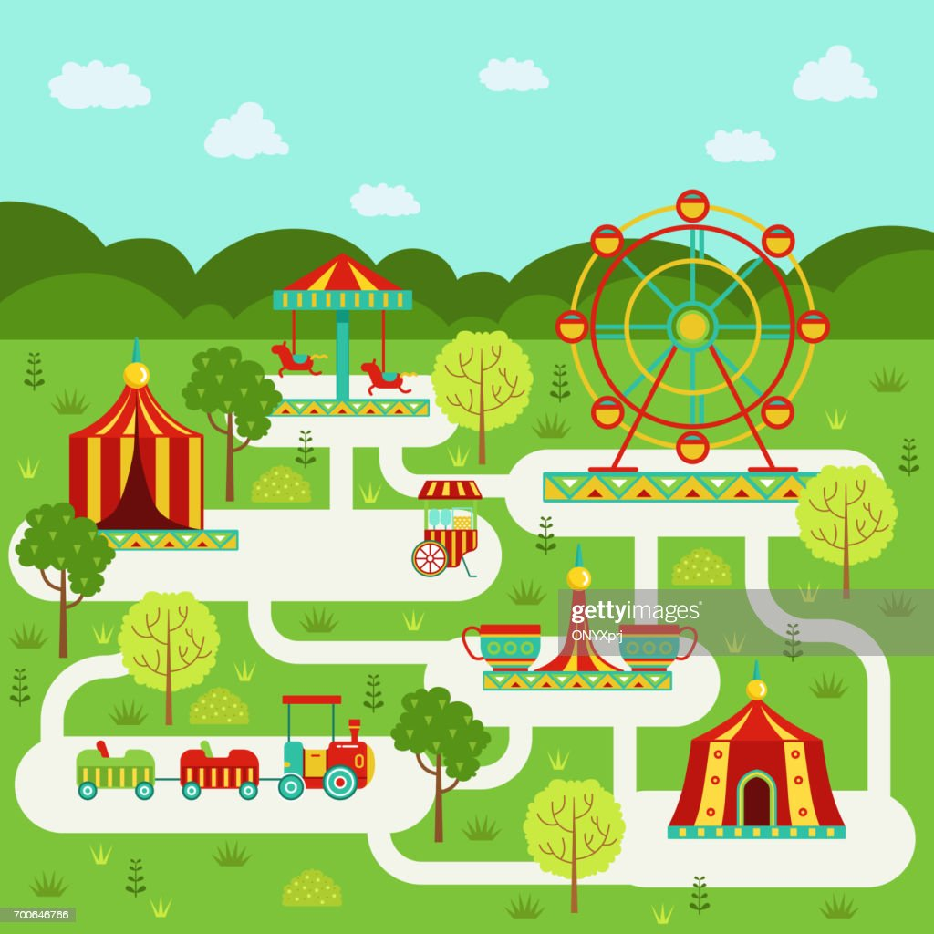Vector map of amusement park with attractions. Family on vacation