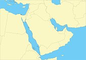 Vector map of Arabian peninsula or Arabia