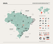 Vector map of Brazil.  High detailed country map with division, cities and capital Brasilia. Political map,  world map, infographic elements.