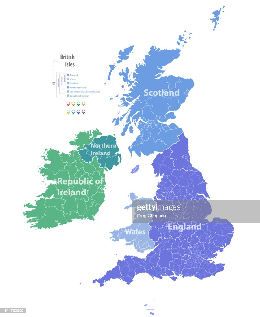 vector map of British Isles administrative divisions colored by countries and regions. Districts and counties maps of United Kingdom,Northern Ireland, Wales, Scotland and Republic of Ireland