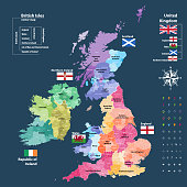 vector map of British Isles administrative divisions colored by countries and regions. Districts and counties maps and flags of United Kingdom,Northern Ireland, Wales, Scotland and Republic of Ireland