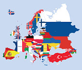 vector map of Europe mixed with countries flags