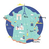 Vector map of France in retro style with popular landmarks.