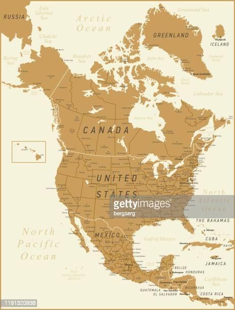illustrazioni stock, clip art, cartoni animati e icone di tendenza di mappa vettoriale del nord america - paese area geografica