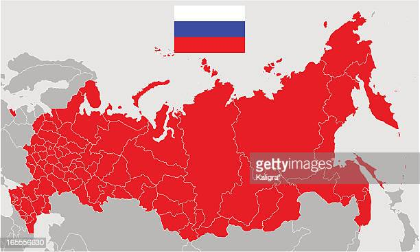 Vector Map of Russia and  Flag