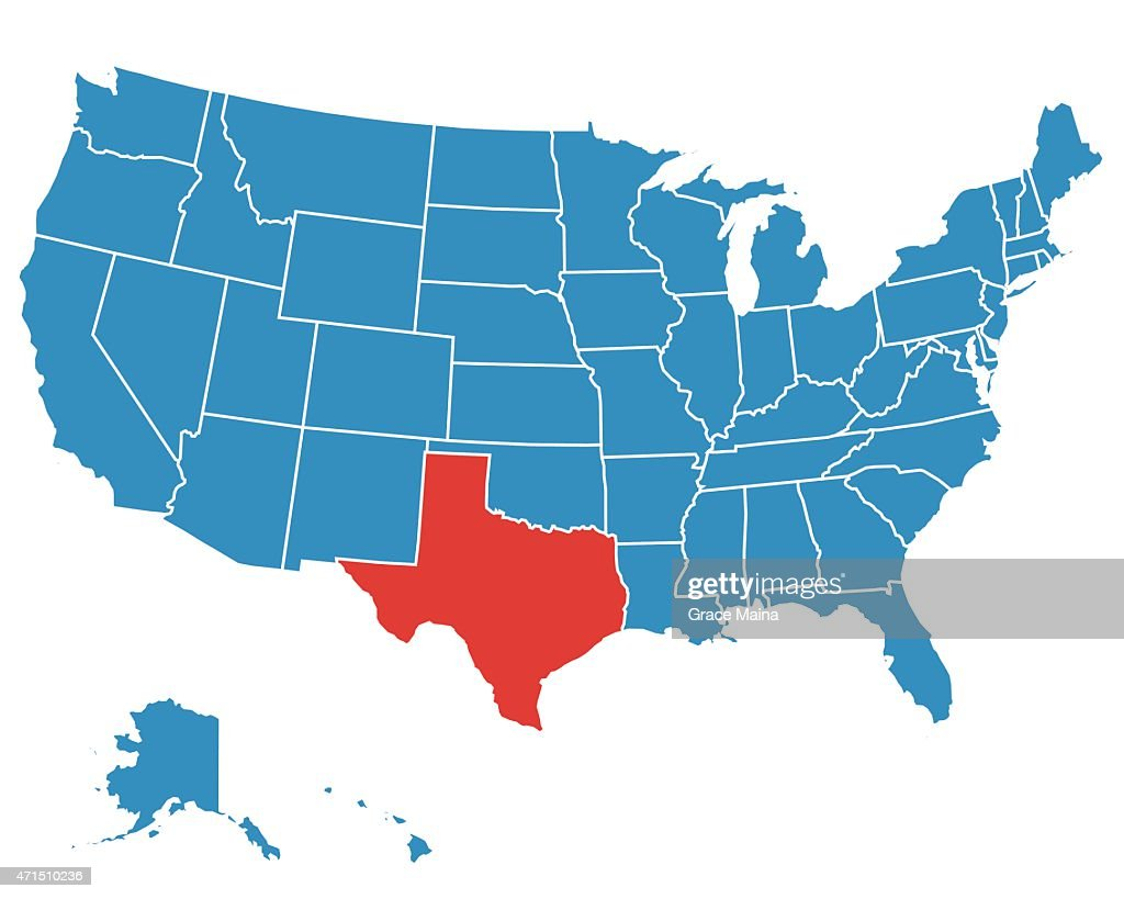 A Vector Map Of The Usa With Texas Highlighted Vector Art | Getty Images