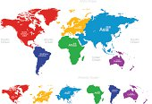 Vector map of the world: America,Europe,Asia,Oceania,Africa