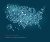 Vector map of United States map of America with glowing points.
