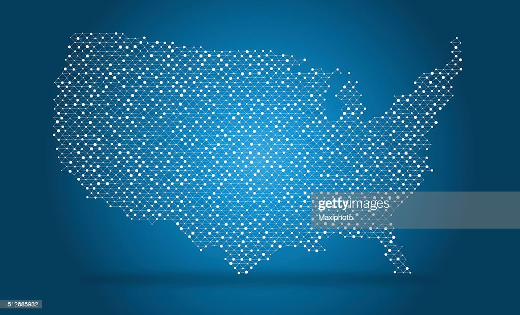 Vector map of USA, wire mesh with dots and lines