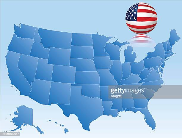 Vector Map of USA with 3D Glass Flag