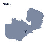 Vector map of Zambia isolated on white background.