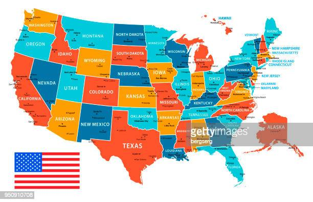 usa vector map with navigational icons - werkzeug stock illustrations