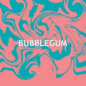 Vector marbling background in pink and blue colors of bubblegum.