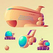 Vector mars colonization objects set