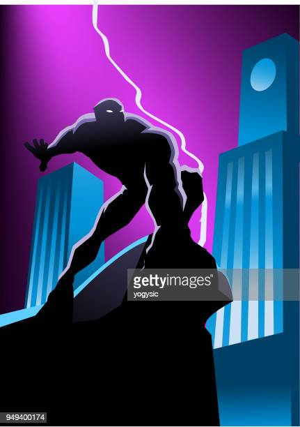 Vector Masked Superhero in the City at Night