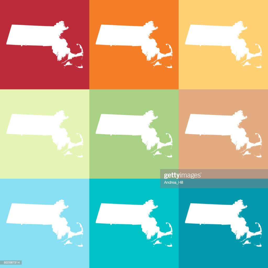 Vector Massachusetts, USA Map in Beachy Colors