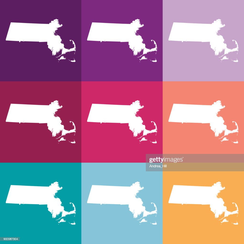 Vector Massachusetts, USA Map in Muted Colors
