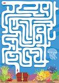 Vector maze game with find treasure underwater
