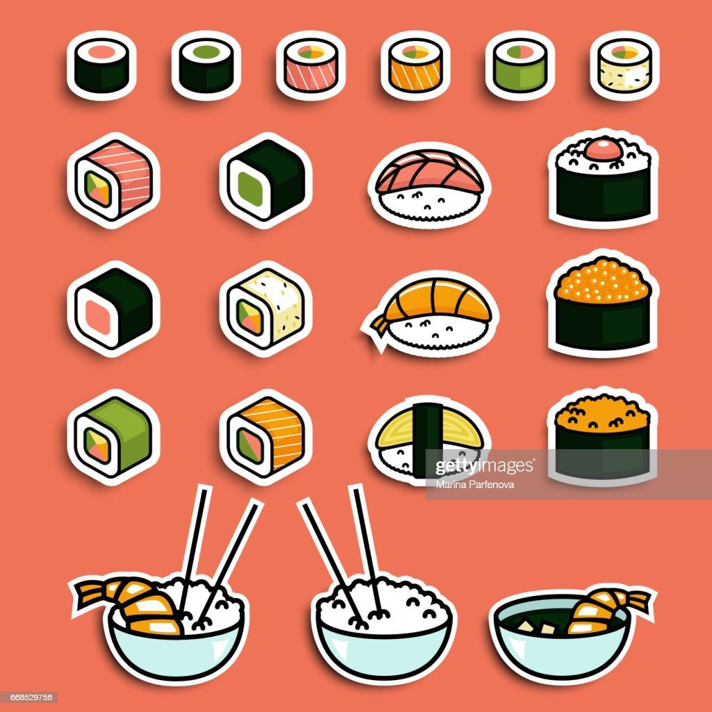 Vector meal rolls sushi set