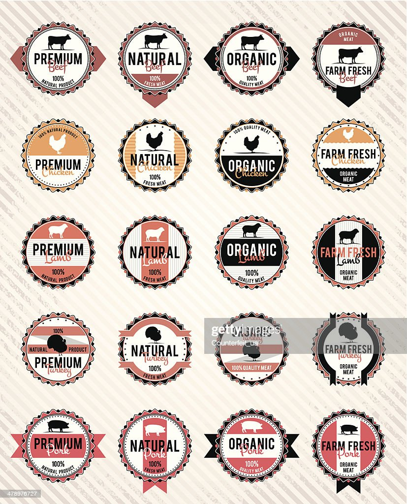Vector meat labels collection