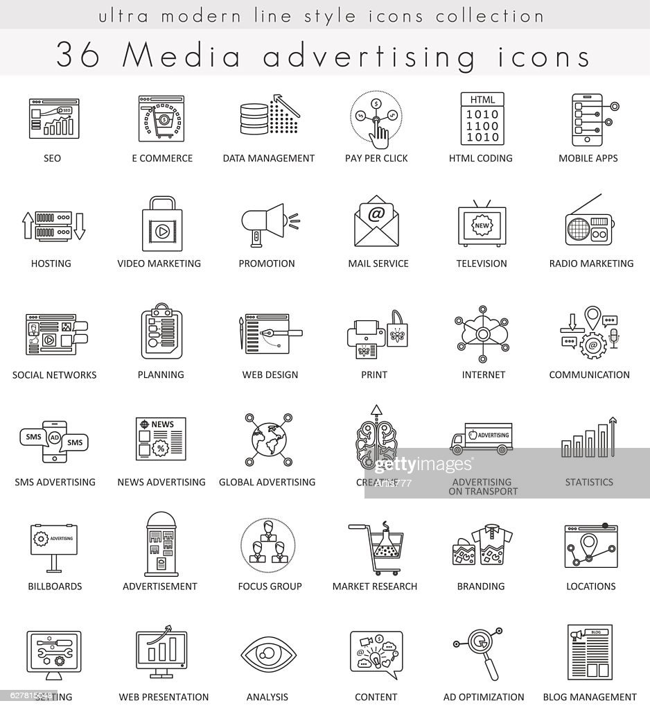 Vector Media advertising ultra modern outline line icons for web