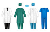 Vector medical clothes for healthcare professionals set