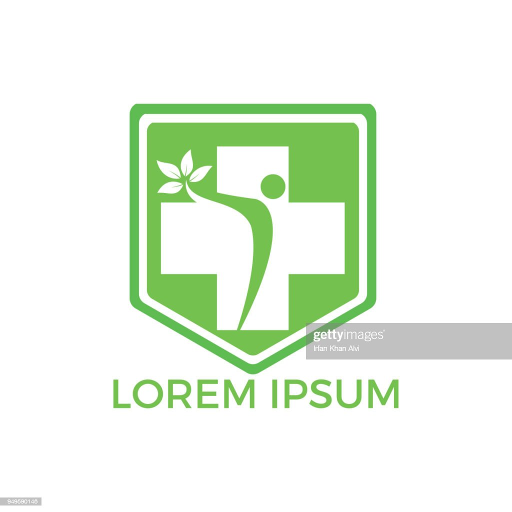 Vector medical design, health protection icon, shield with cross isolated.