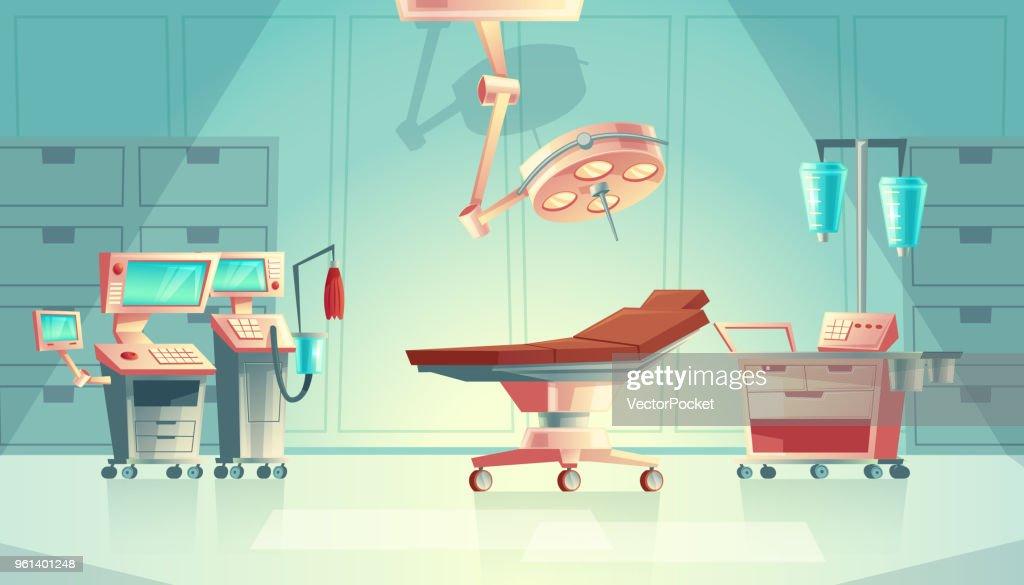 Vector medical surgery concept, cartoon hospital equipment