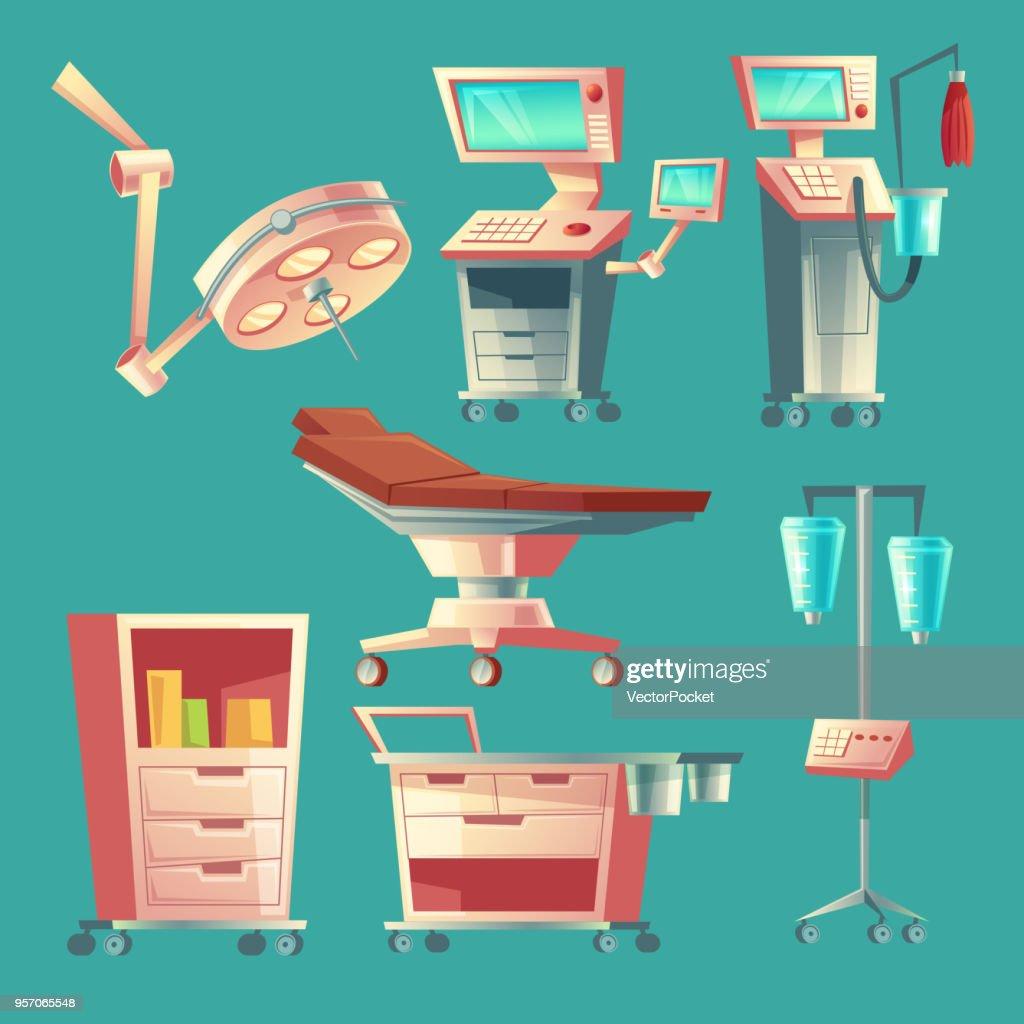 Vector medical surgery set, cartoon hospital equipment