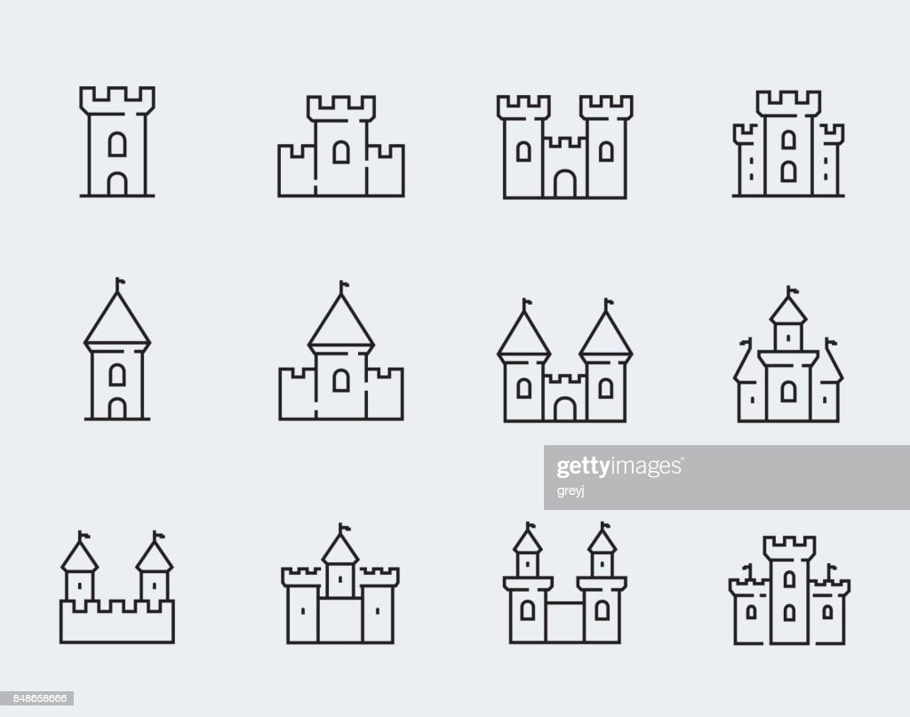 Vector medieval castles icon set in thin line style