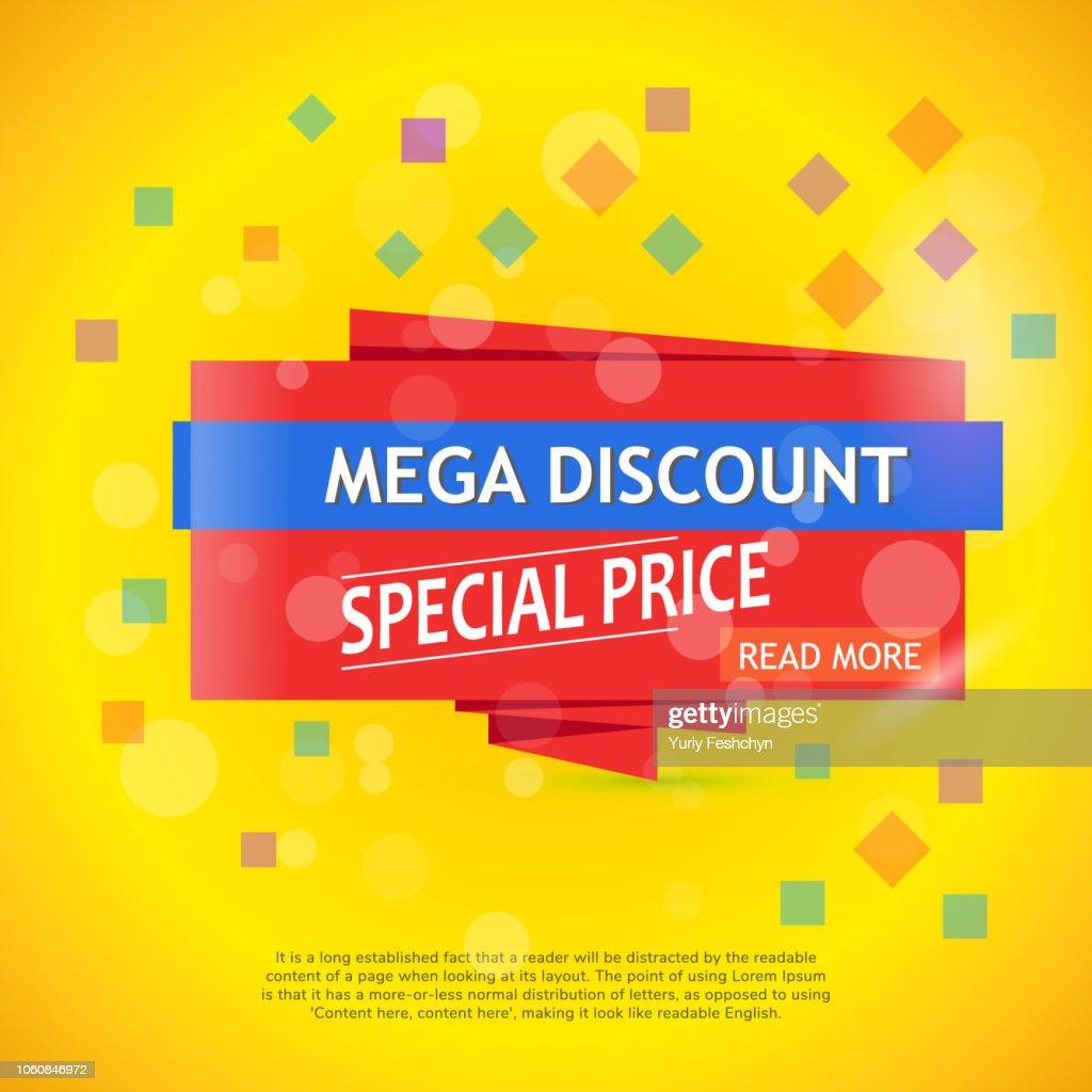 Vector mega discount background. Super sale banner.