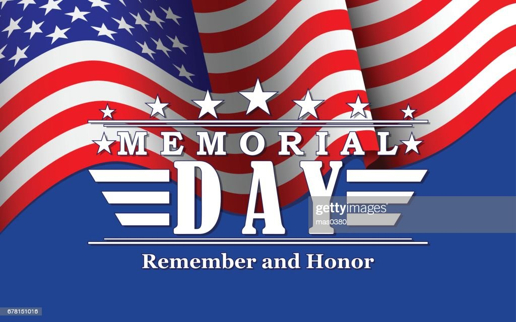 vector memorial day background with stars usa flag and lettering