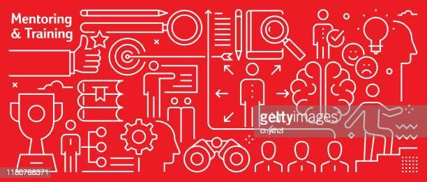 illustrations, cliparts, dessins animés et icônes de vector mentoring and training banner design in trendy linear style. modèle abstrait de style d'art de ligne pour la page web, la bannière, la présentation - culture d'entreprise