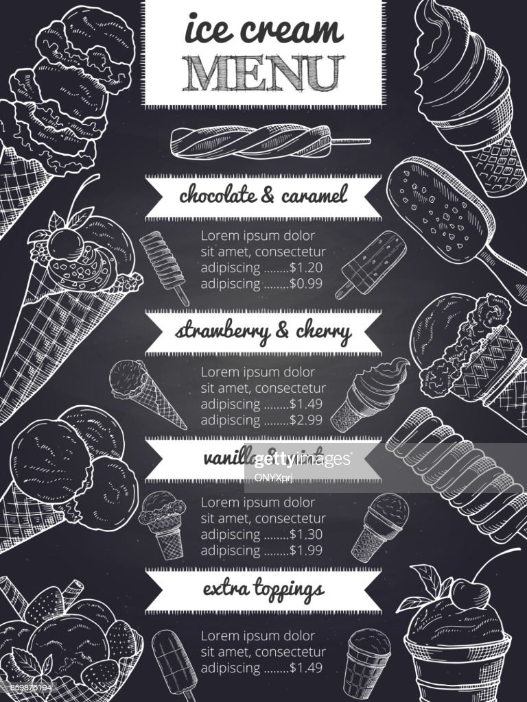 Vector menu of ice cream. Hand drawing illustrations with place for your text
