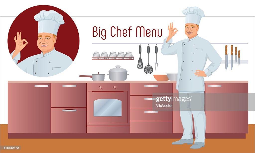 Vector Menu Set. Chef shows gesture delicious, background of kitchen.