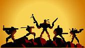 Vector Mercenary Soldiers Silhouette