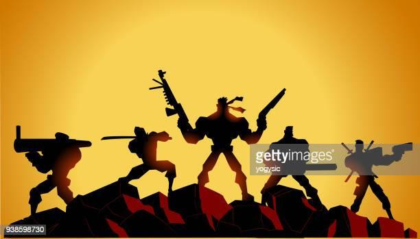 vector mercenary soldiers silhouette - machine gun stock illustrations, clip art, cartoons, & icons