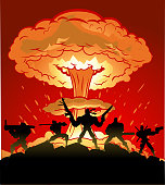 Vector Mercenary Soldiers Silhouette with Nuclear Explosion in the background