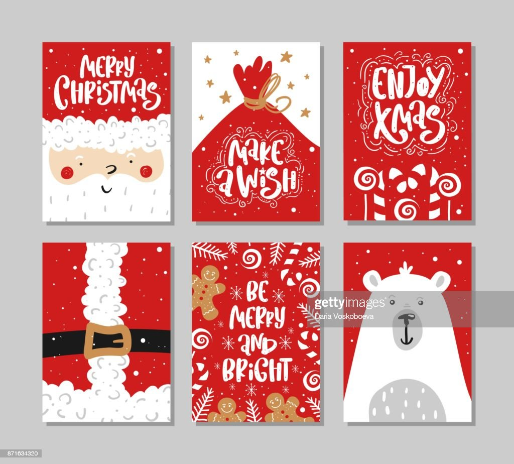 Vector Merry Christmas And Happy New Year Greeting Card Set With