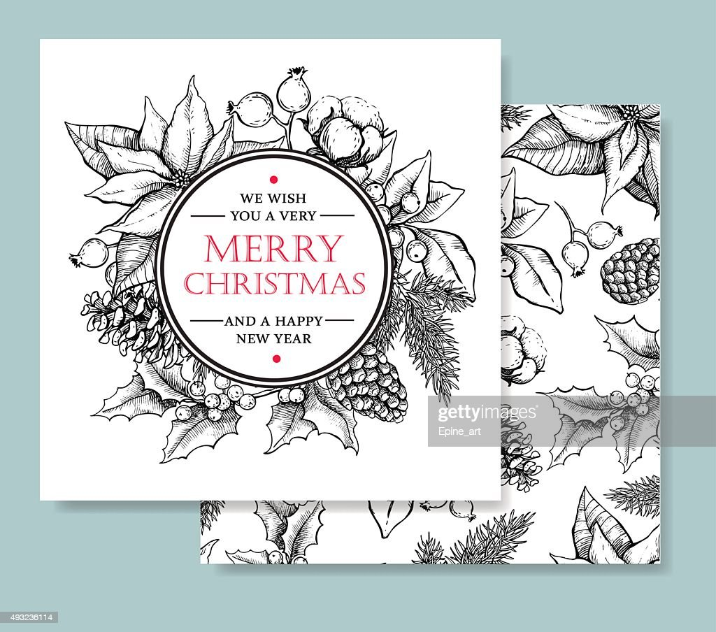 Vector Merry Christmas and Happy New Year hand drawn card
