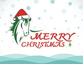 Vector merry christmas greeting card horse