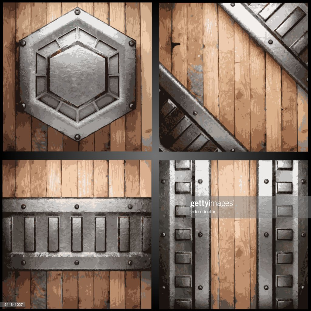 Vector metal and wood background set