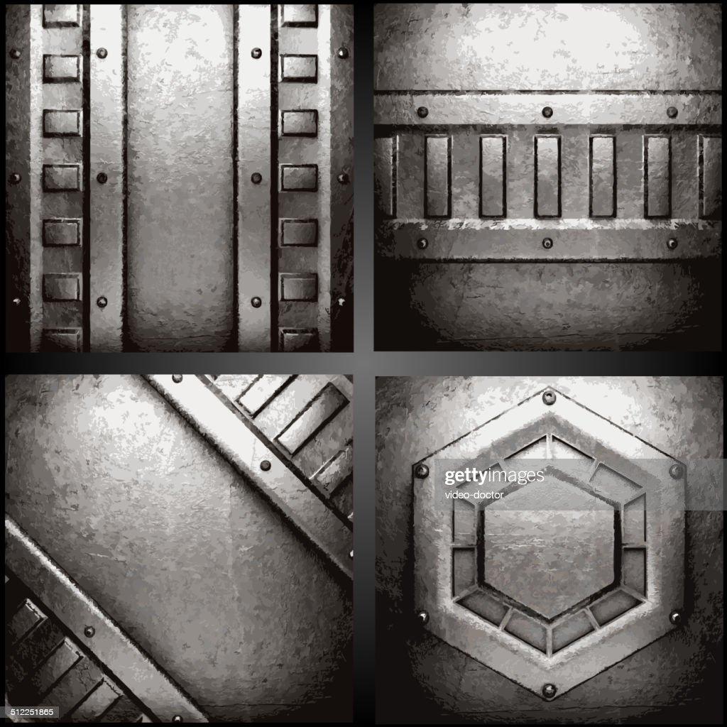 Vector metal background set