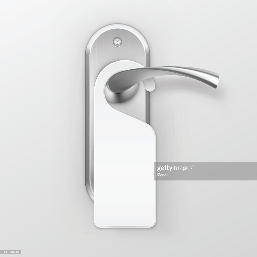 Vector Metal Door Handle Lock with Hanger Isolated on Background