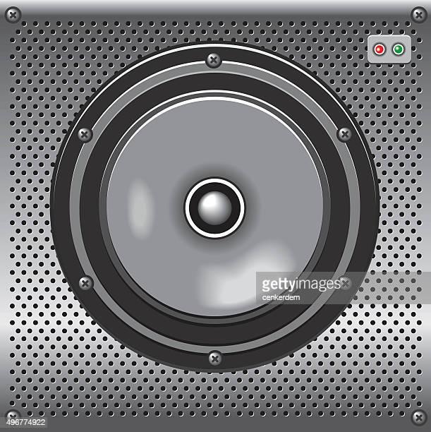 vector metalic loudspeaker - music box stock illustrations