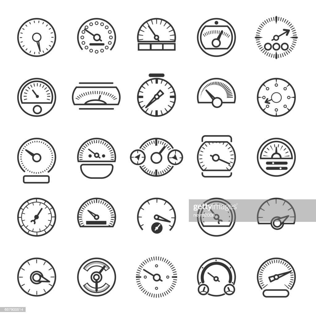 Vector meter and gauge control icons for dashboard