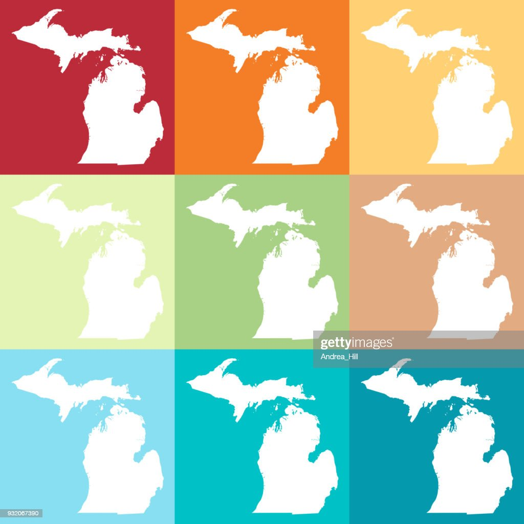 Michigan On Usa Map.Vector Michigan Usa Map In Beachy Colors Vector Art Getty Images